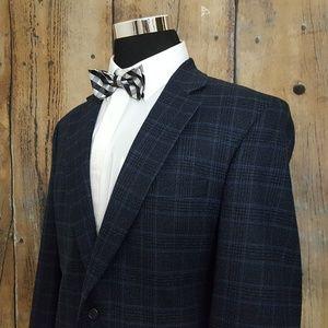 Jos A Bank Sport Coat Mens 42L Wool Black Blue